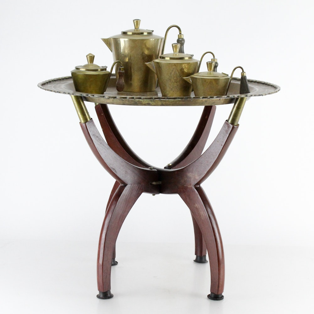 Brass Top Tray Table and Thai Tea Set