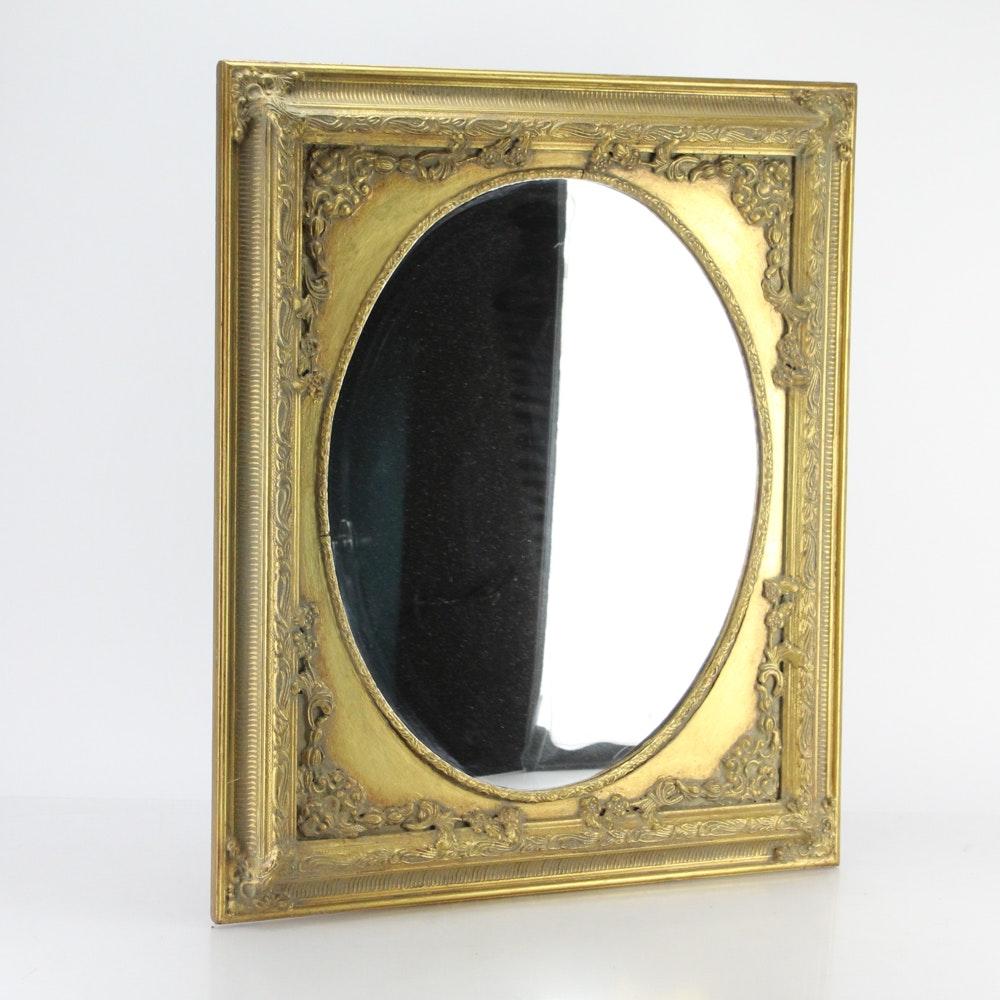Vintage Wood Framed Wall Mirror