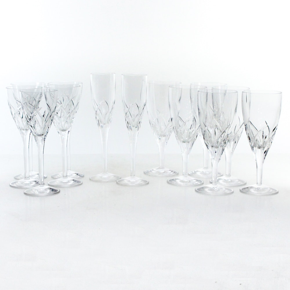 "Waterford Crystal ""Merrill"" Champagne Flutes and Wine Glasses"