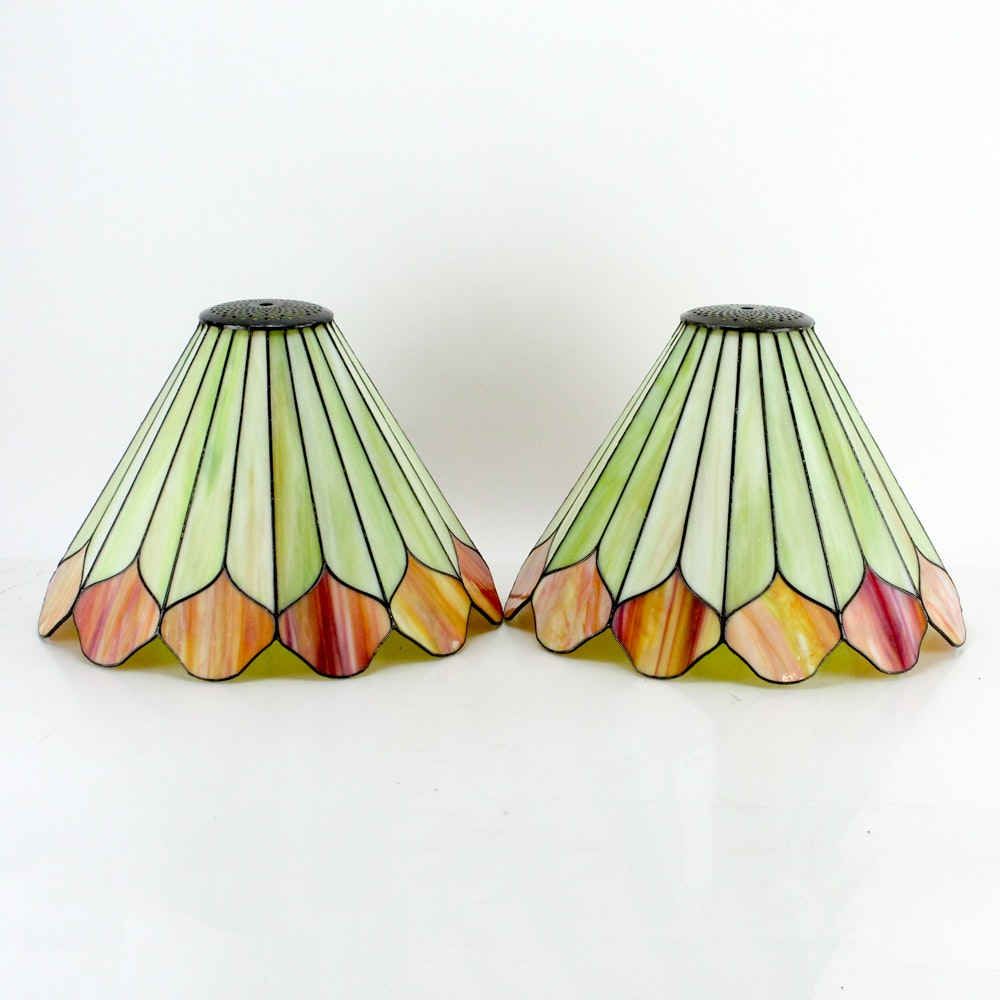 Pair of Handmade Stained Glass Lampshades