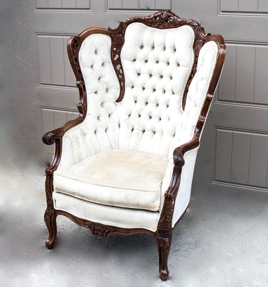 Superbe Victorian Carved Wood Frame Wingback Chair ...