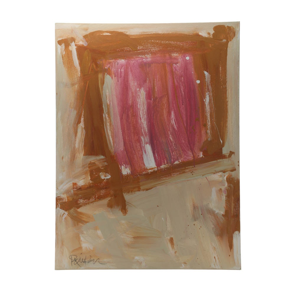 """Robbie Kemper Abstract Acrylic Painting """"Pink in Browns"""""""