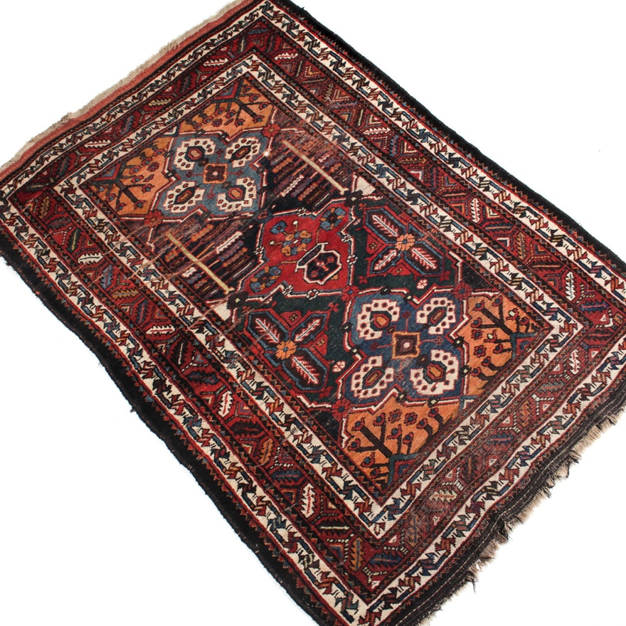 Hand Knotted Indo Persian Obeetee Wool Area Rug Ebth: Semi-Antique Hand-Knotted Bakhtiari Area Rug : EBTH