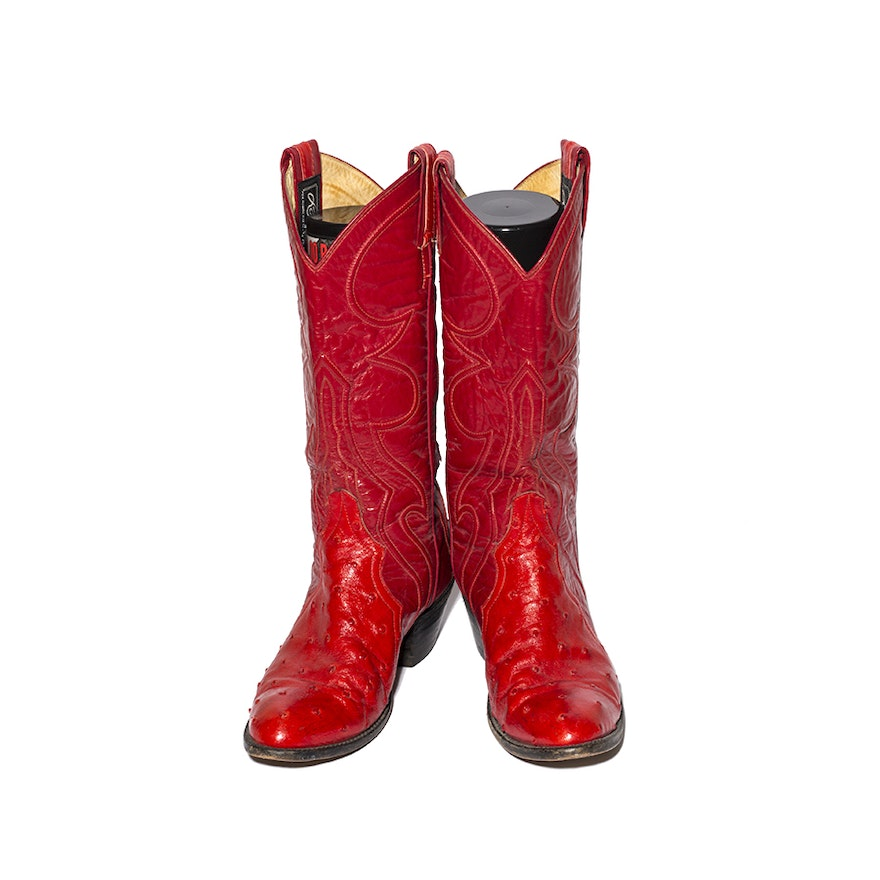 5f35c96baca Larry Mahan Red Leather and Ostrich Boots