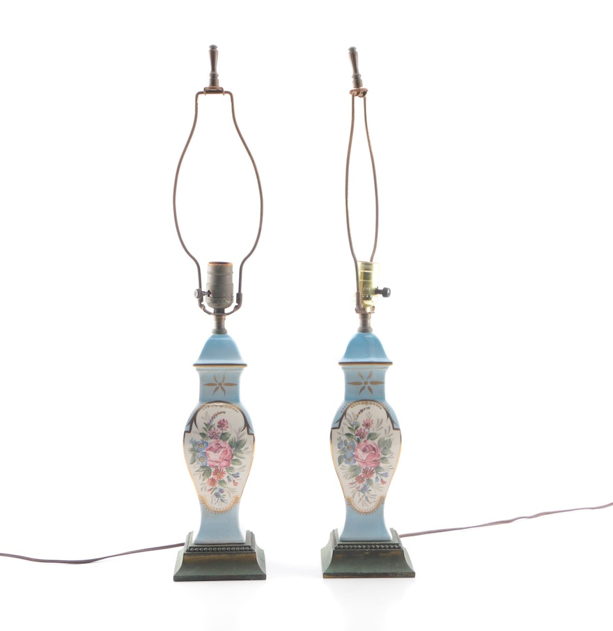 Vintage hand painted table lamps ebth vintage hand painted table lamps geotapseo Gallery