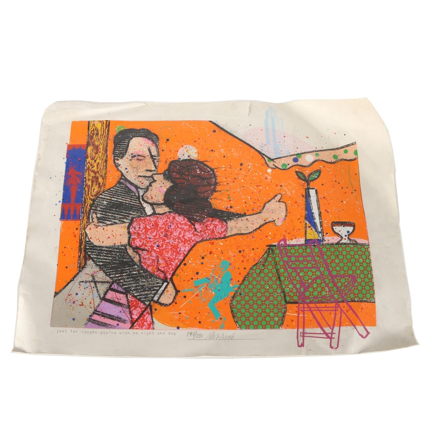 """Richard Merkin Limited Edition Serigraph """"Just For Laughs You're With Me Night and Day"""""""