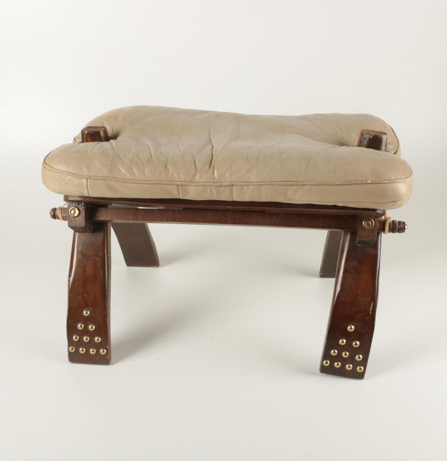 Country crafted wooden chair and stool ebth - Vintage Camel Saddle Stool