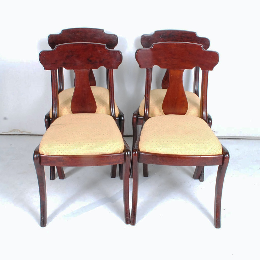 Four Antique Regency Style Walnut Dining Chairs