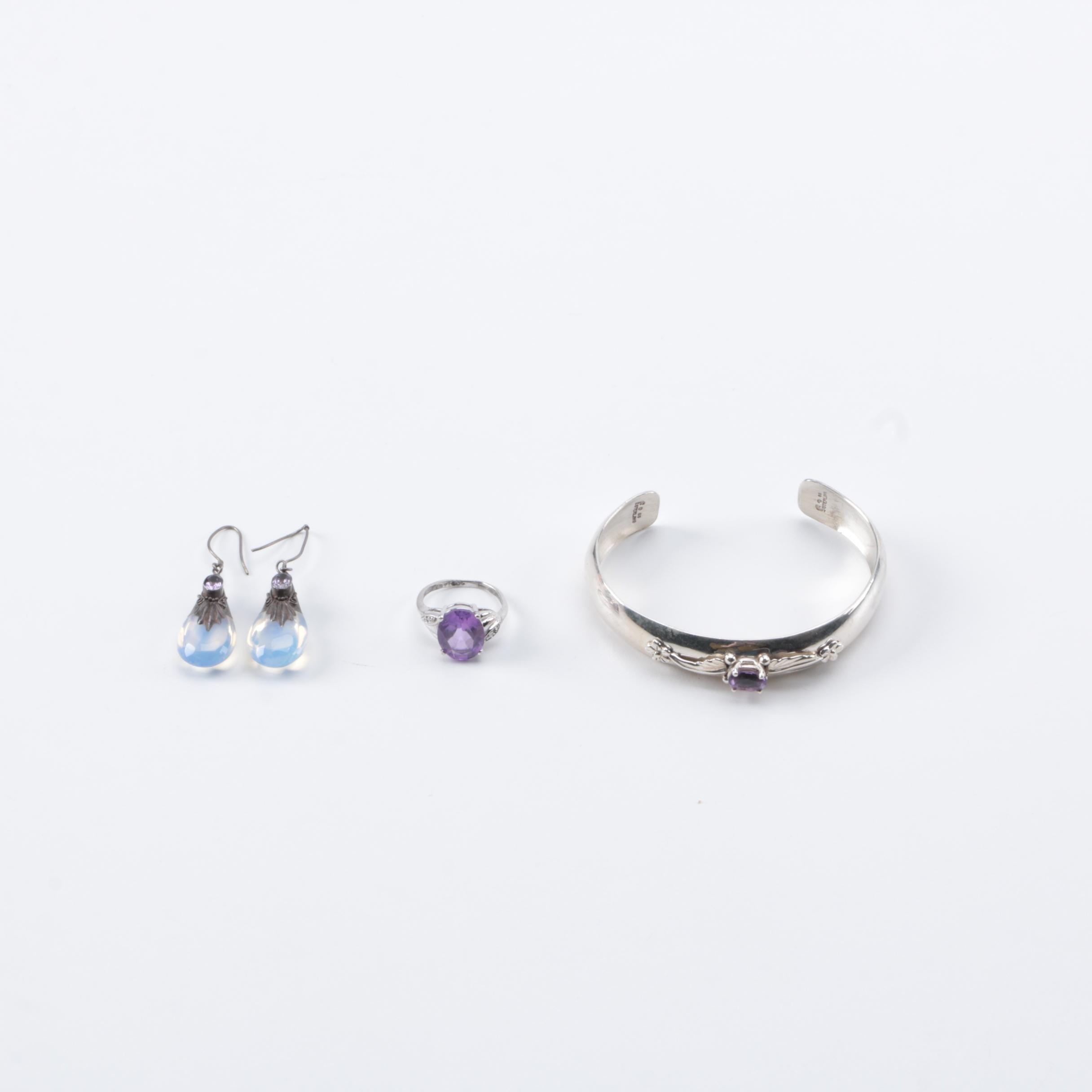 Sterling Silver Jewelry With Accents Including Amethyst and Diamonds