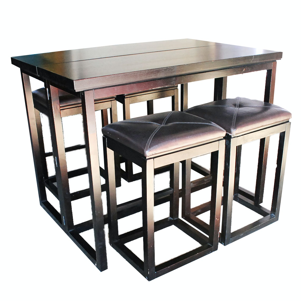 Folding Drop Leaf Table with Cushion Top Stools