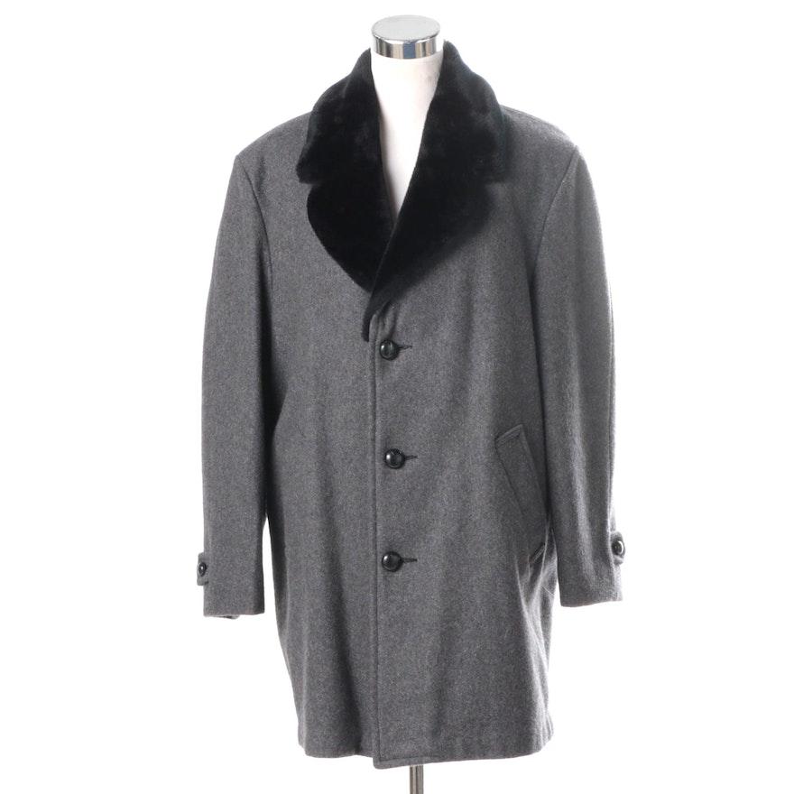 422bf06dc15c Men s Vintage Grais Grey Wool Coat with Faux Fur Collar   EBTH