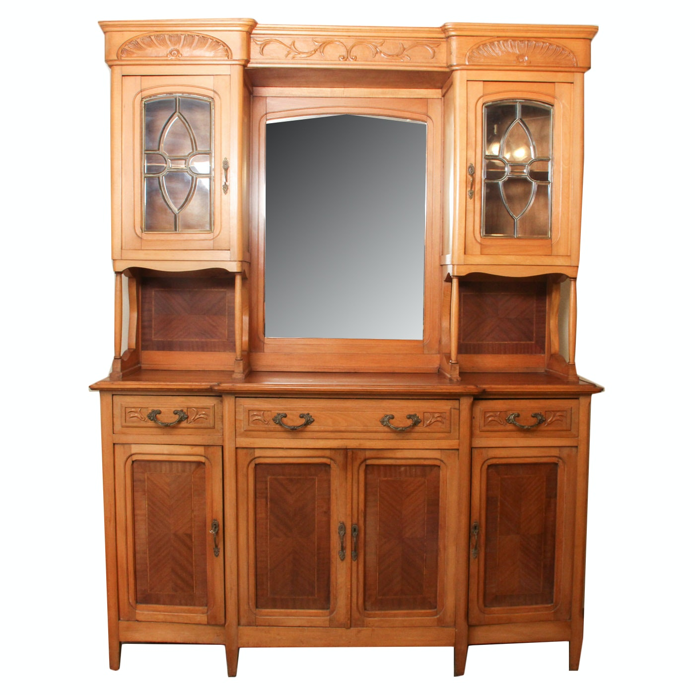 Antique French Beechwood Buffet Cabinet