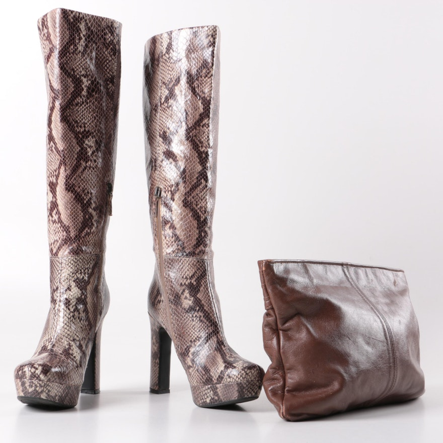 4264f9f4557 Faux Python High Heel Boots and Vintage Brown Leather Clutch   EBTH