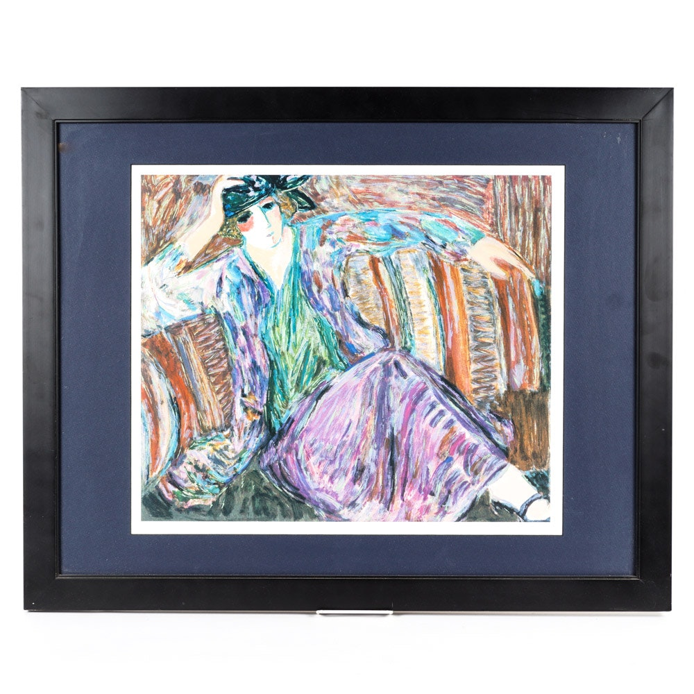 "Barbara A. Wood Limited Edition Offset Lithograph ""Pensive Woman"""