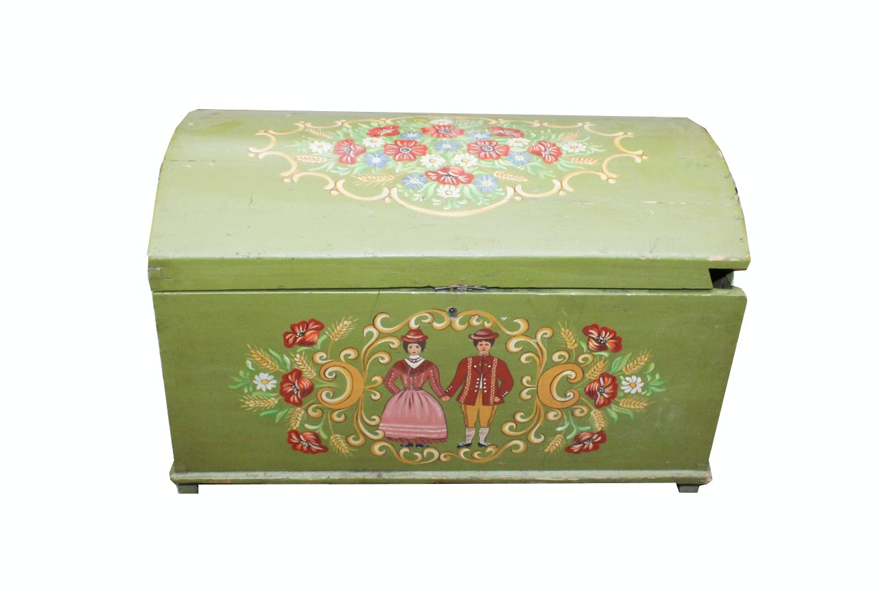 Nice Vintage FolK Art Pennsylvania Dutch Pine Wedding Trunk ...