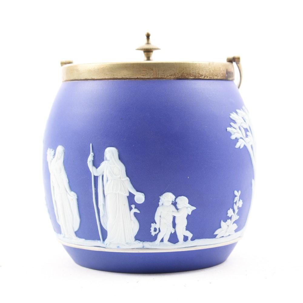 Wedgwood Blue Jasperware Biscuit Barrel