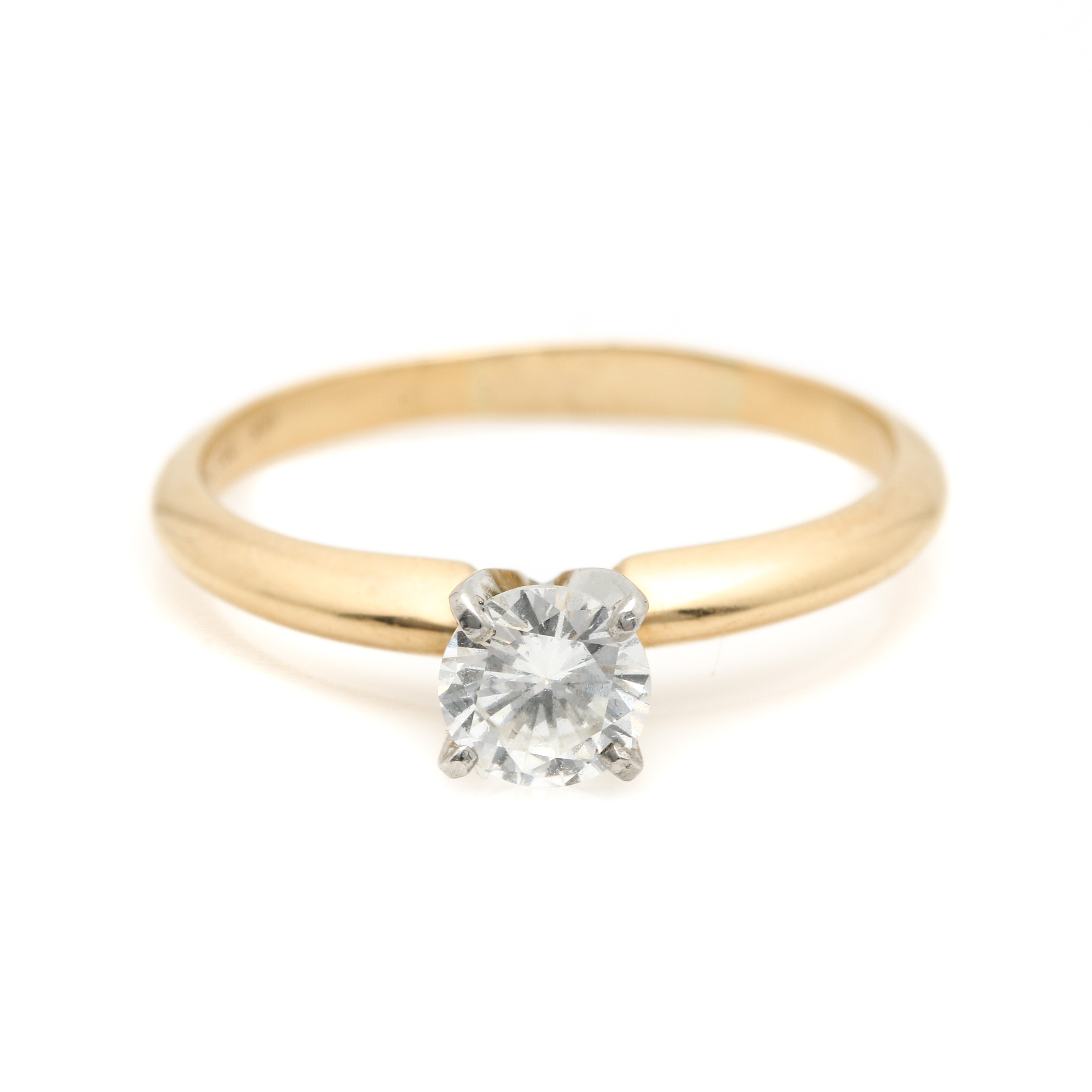 18K Yellow Gold and Platinum Diamond Solitaire Ring