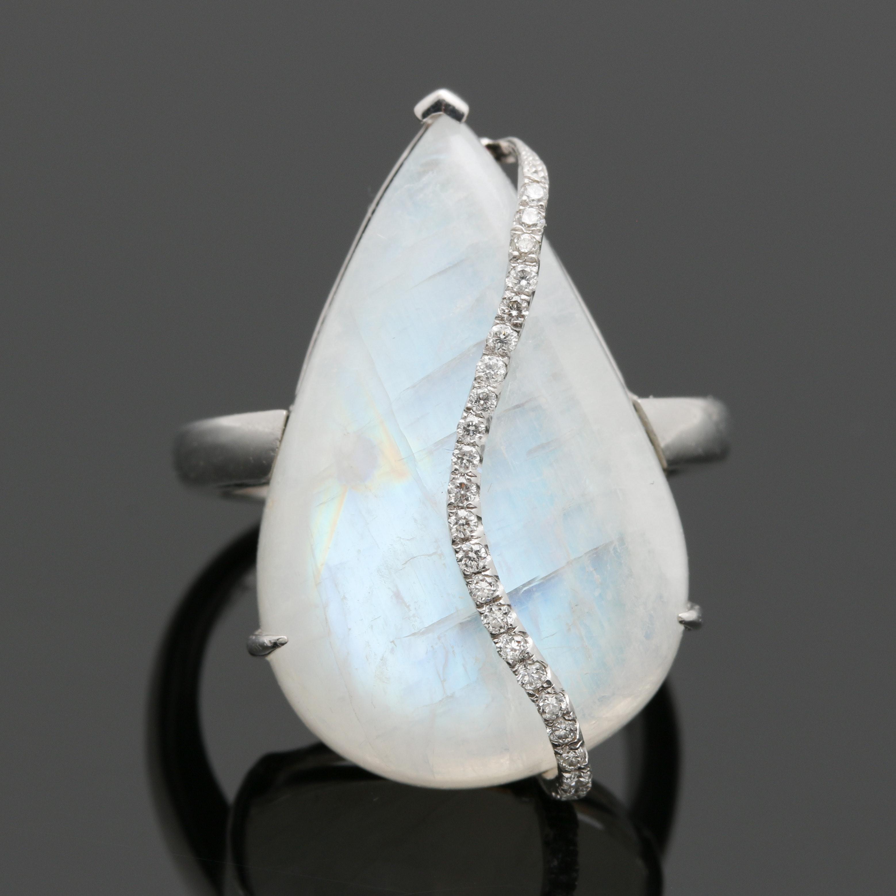 18K White Gold Rainbow Moonstone and Diamond Ring