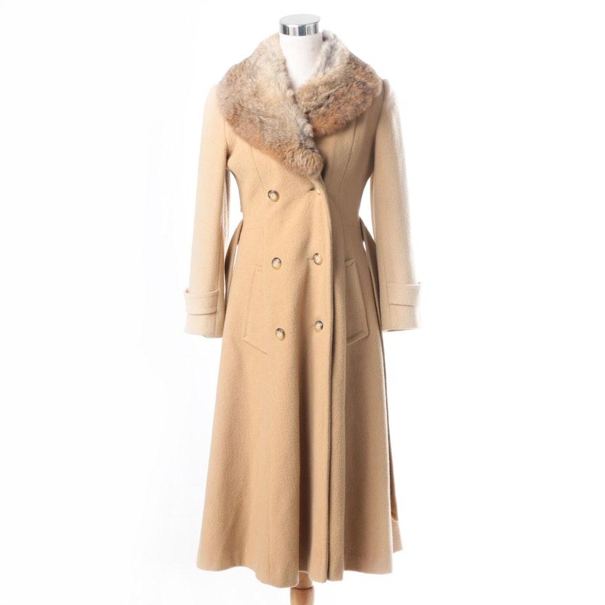 5f8f892b1a34 Women s Vintage Tan Wool Coat with Rabbit Fur Collar   EBTH