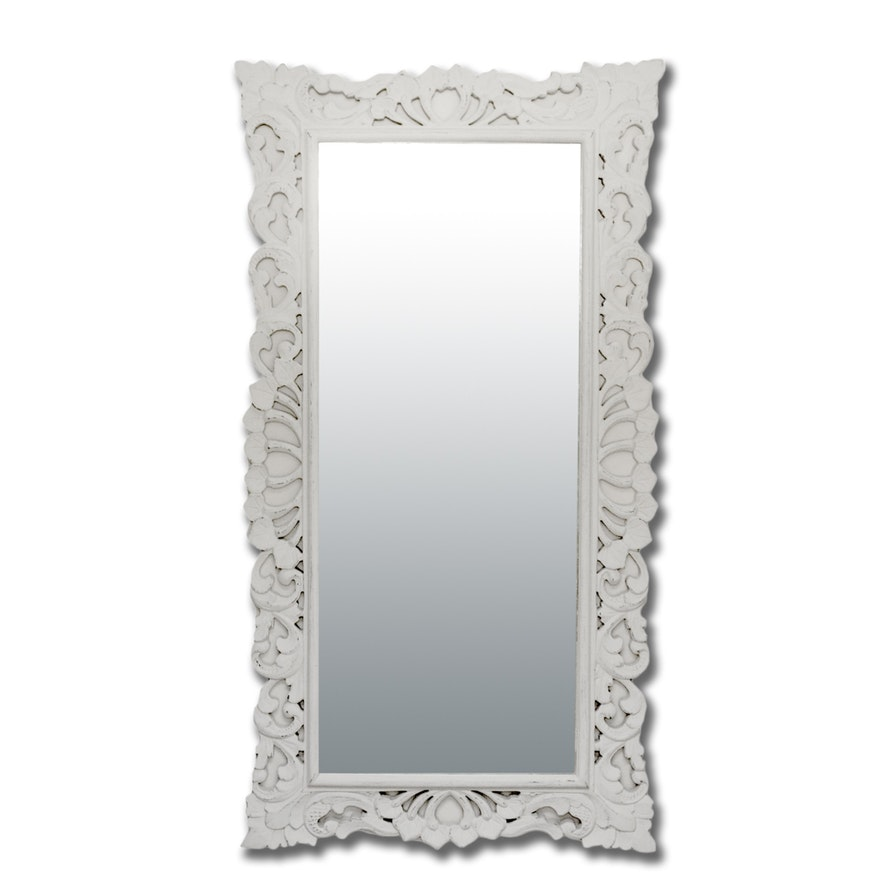 White Wood Framed Full Length Mirror Ebth