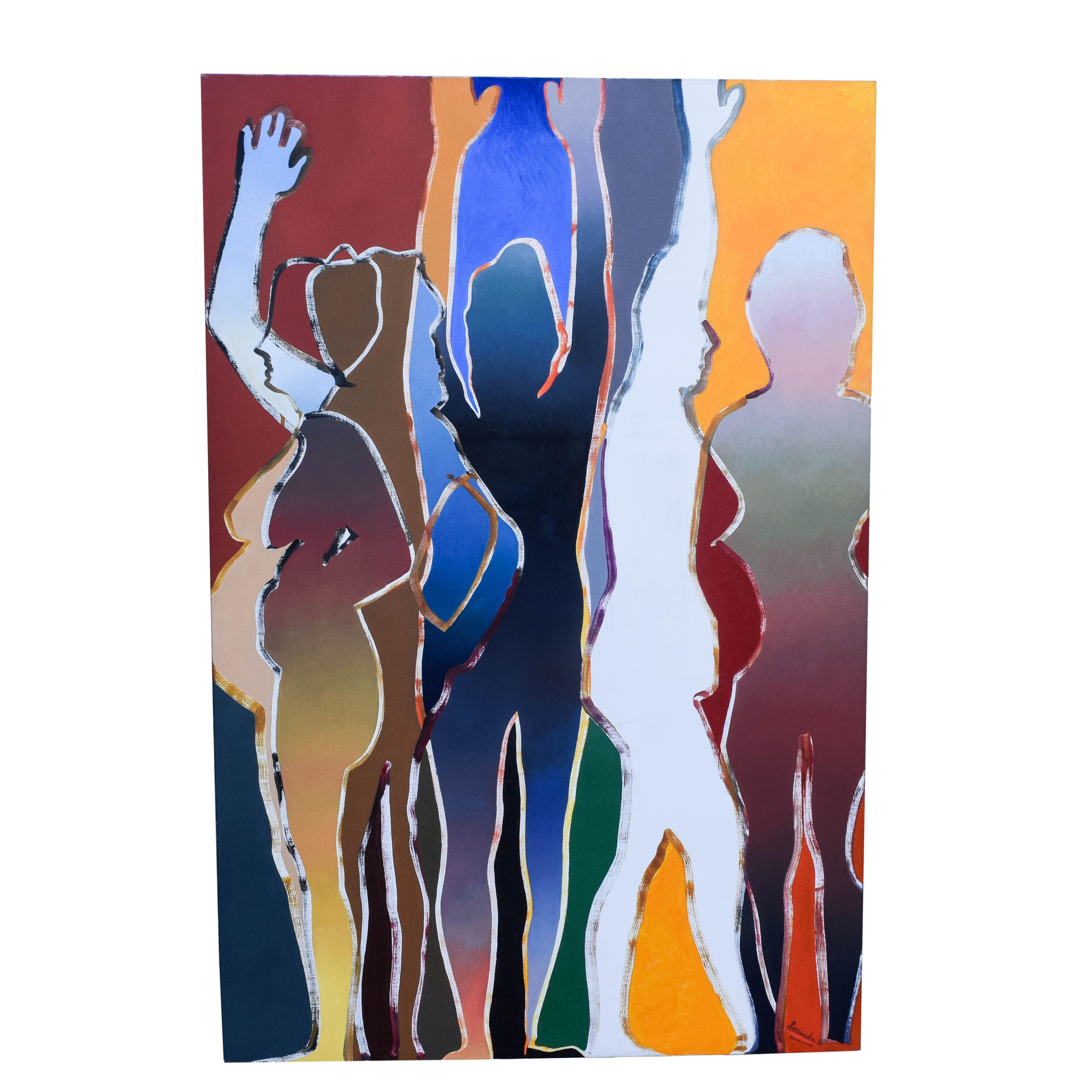 "Arthur Secunda Painting on Canvas ""Vive La Vie"""