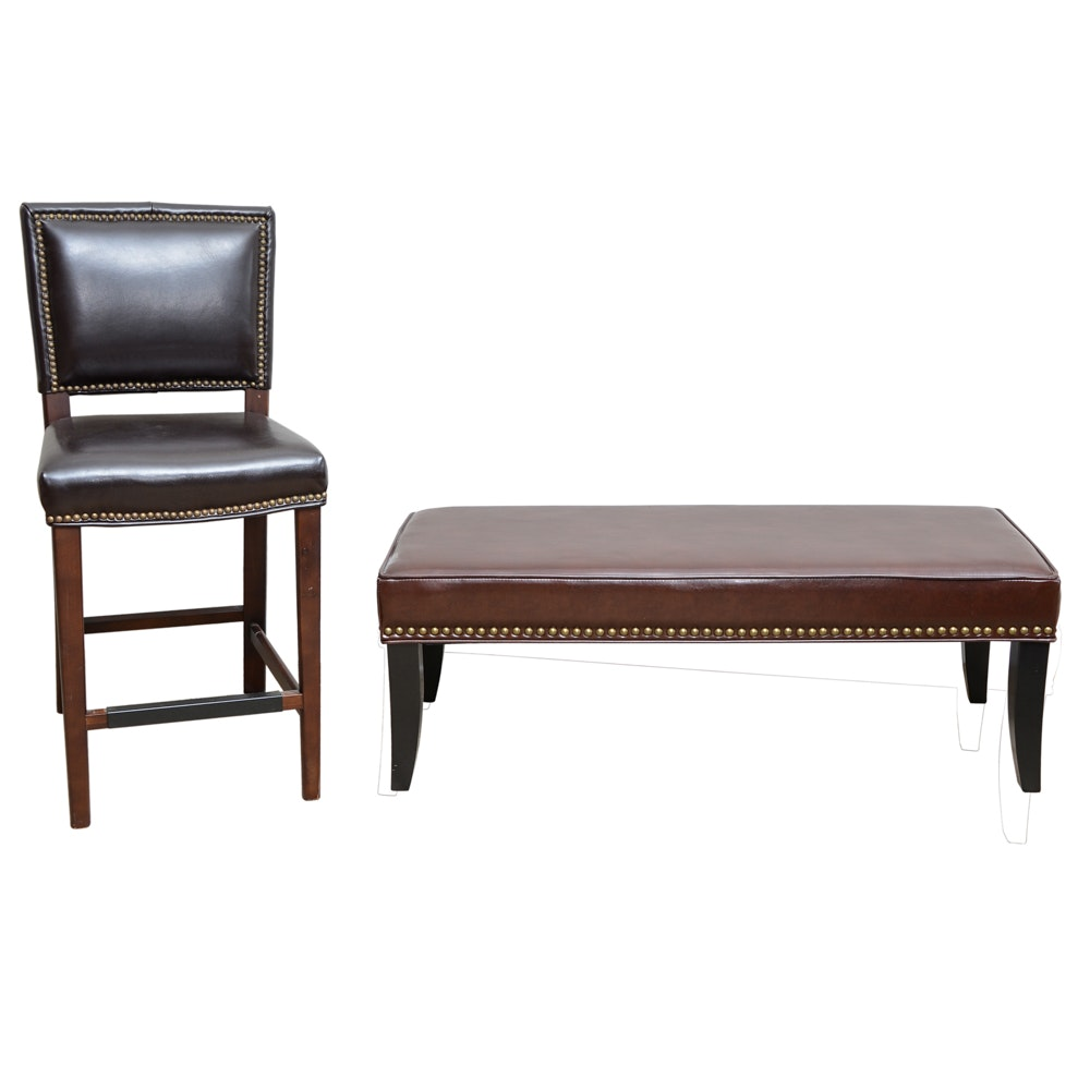 Leather bench and bar stool with nailhead trim ebth - Leather bar stools with nailhead trim ...