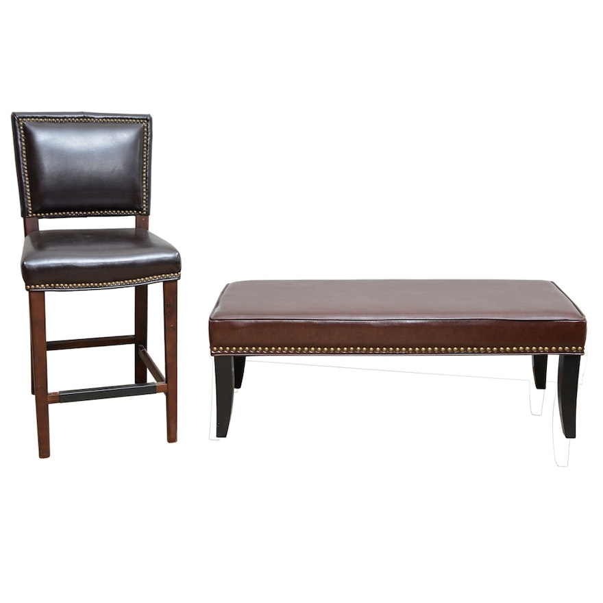 Prime Leather Bench And Bar Stool With Nailhead Trim Uwap Interior Chair Design Uwaporg