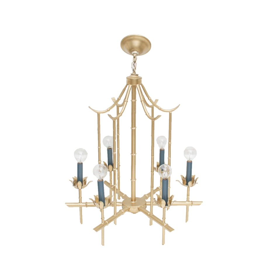 Vintage Hollywood Regency Faux Bamboo Pagoda Chandelier