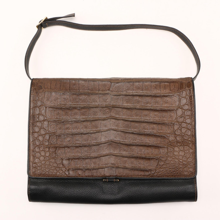41e9683a851 Vintage Gucci Leather and Crocodile Skin Shoulder Bag   EBTH
