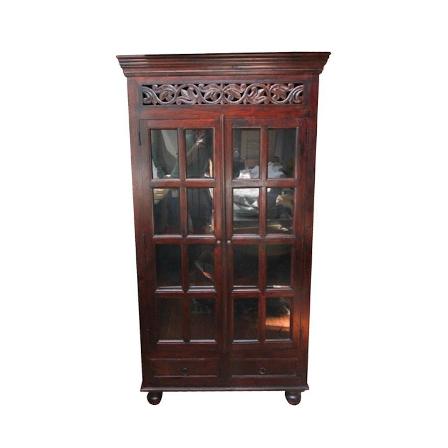 Wooden Bookshelf Cabinet With Glass Doors Ebth