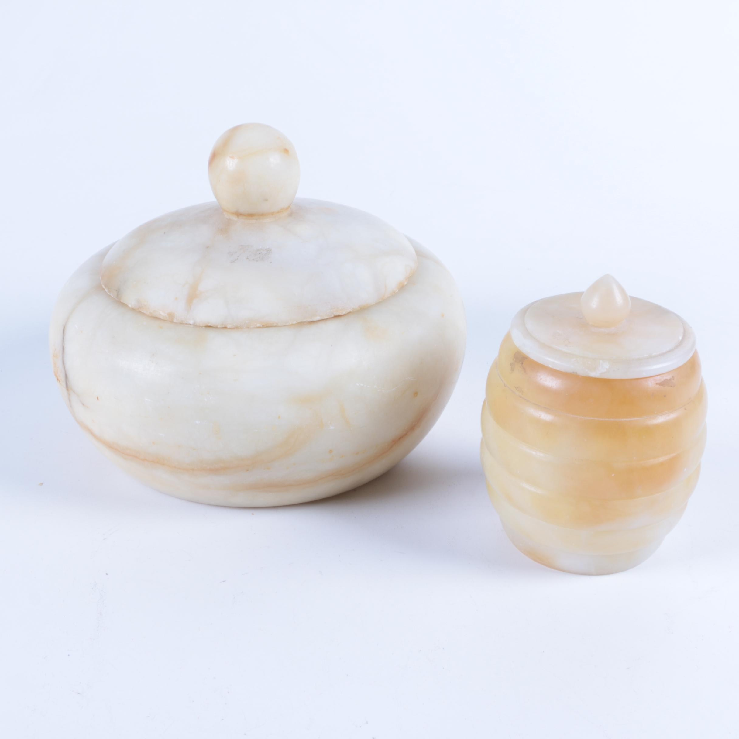 Carved Alabaster Covered Containers