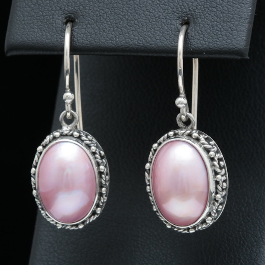 8c26521e052ec Sterling Silver and Pink Mother of Pearl Earrings