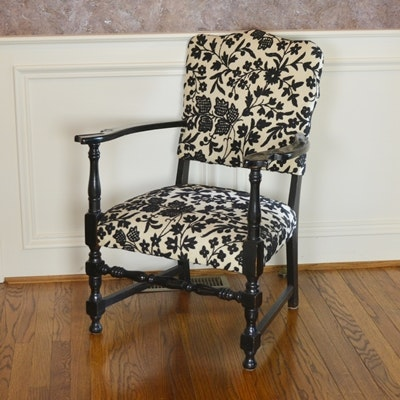 Vintage William And Mary Style Upholstered Armchair