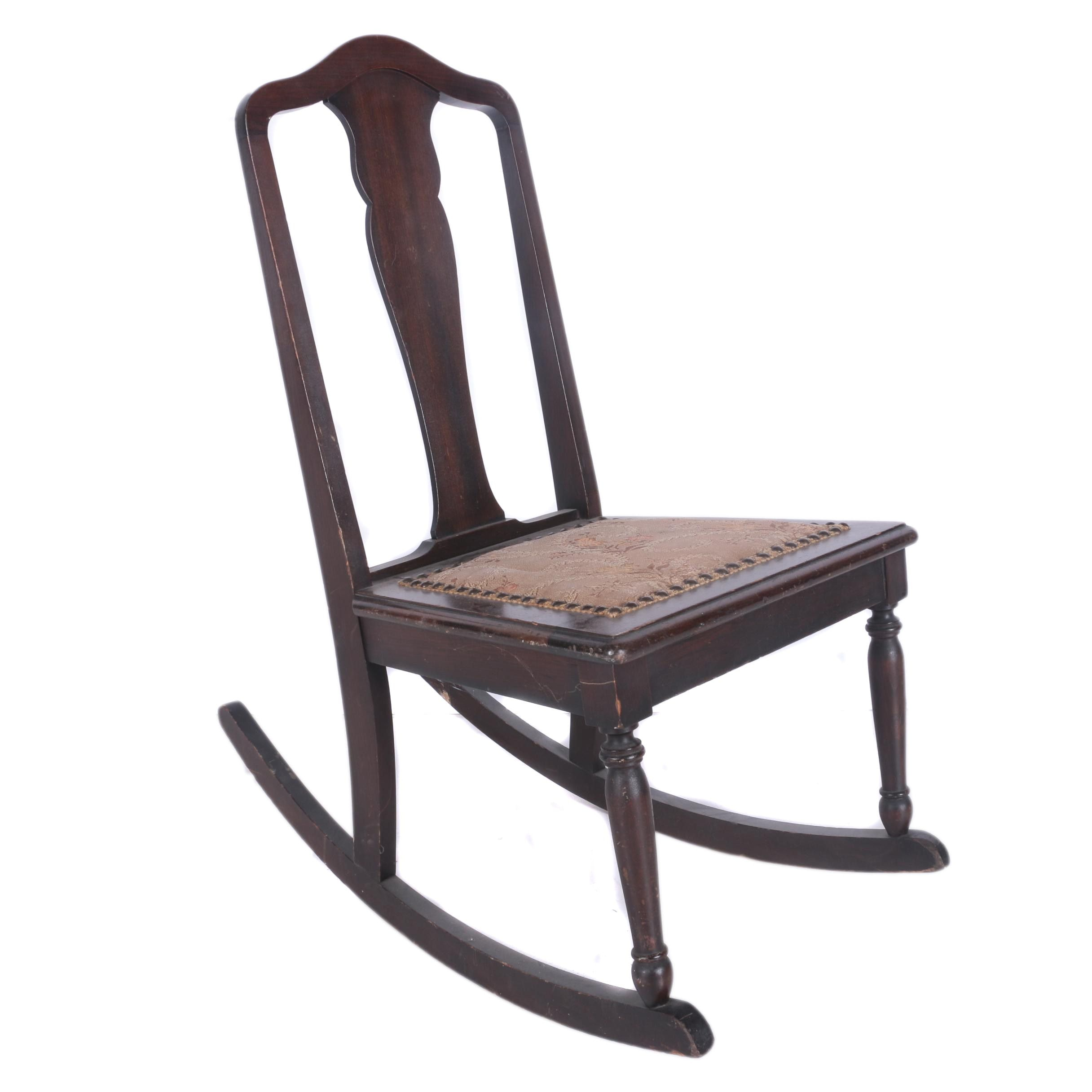 Vintage Colonial Revival Dark Walnut Rocking Chair