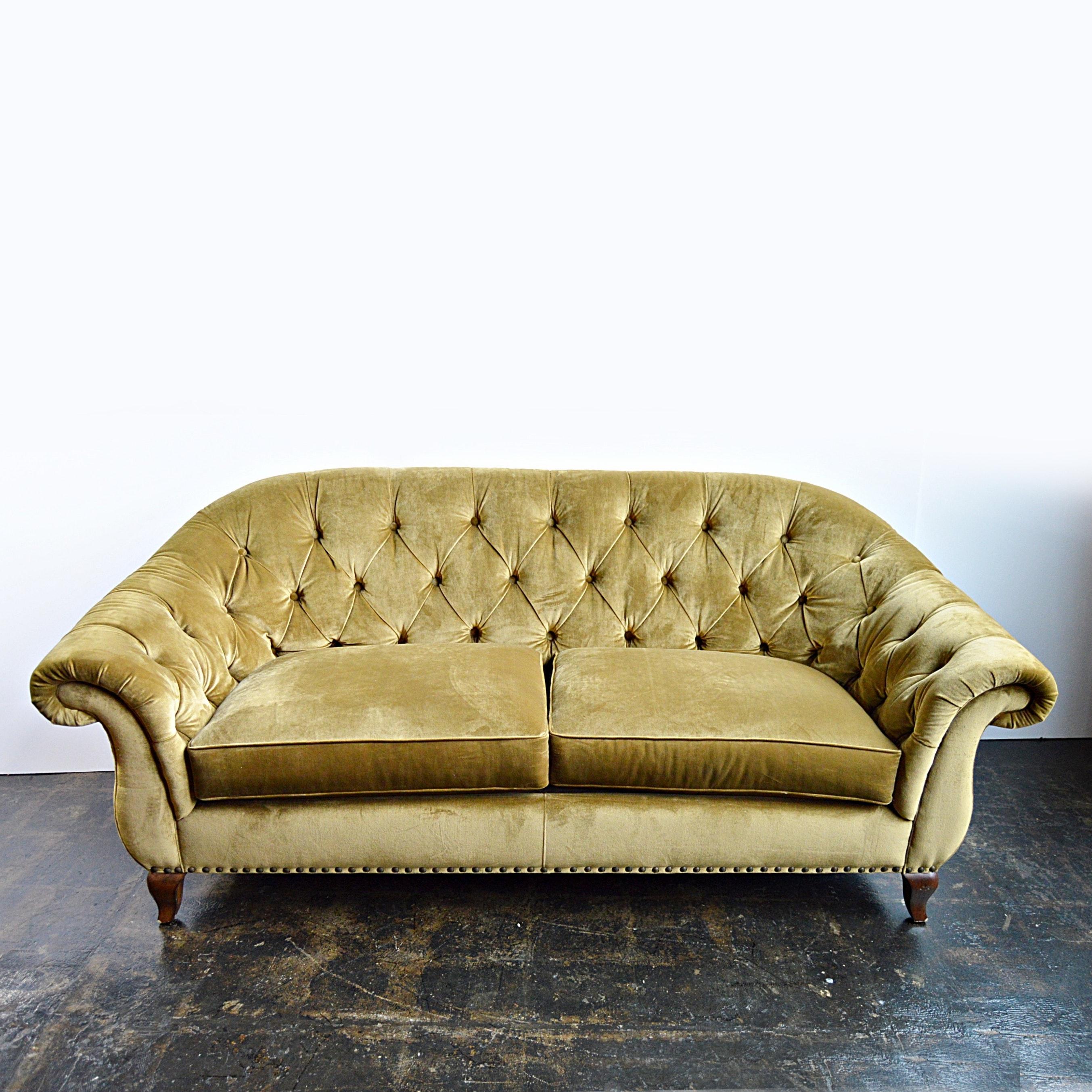 Ralph Lauren Olive Velvet Tufted Back Sofa ...