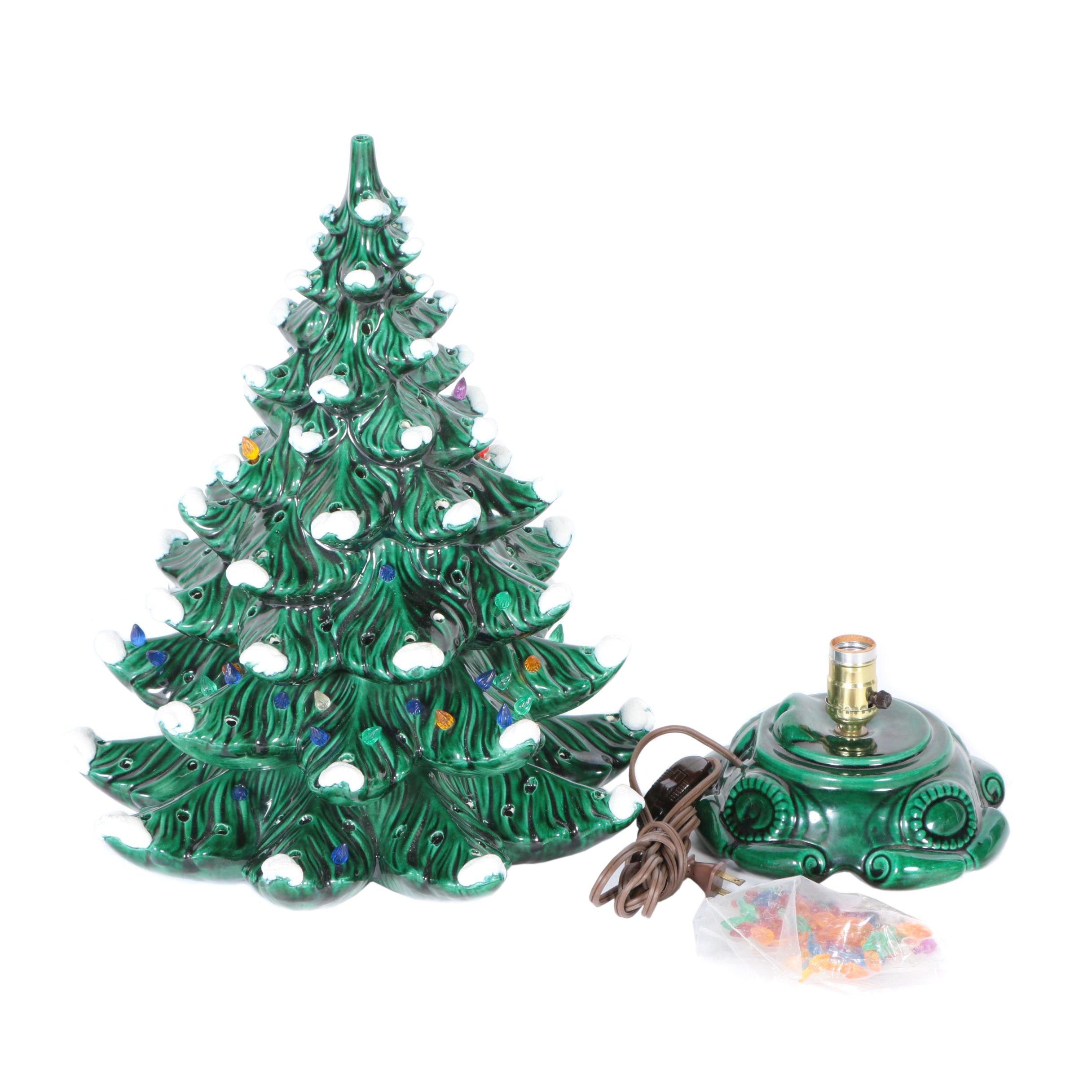 Lighted Christmas Decor with Majolica Glaze
