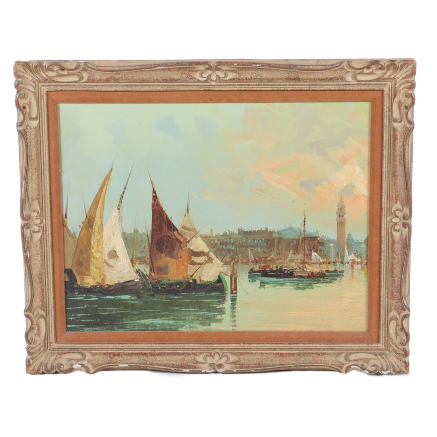 A Palini Oil Painting On Canvas Of Harbor Scene