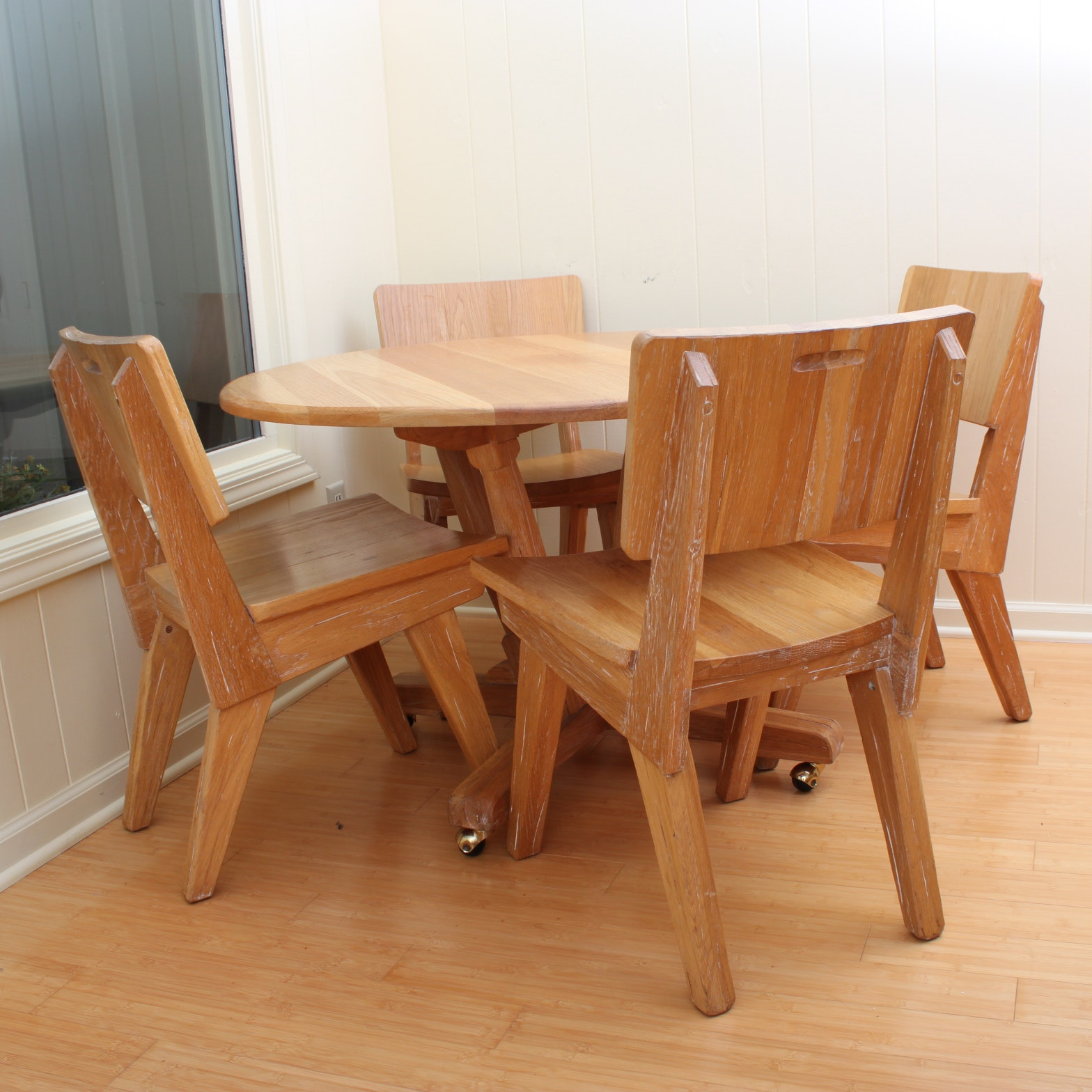 Vintage Mid Century Modern Ash Dining Table With Chairs