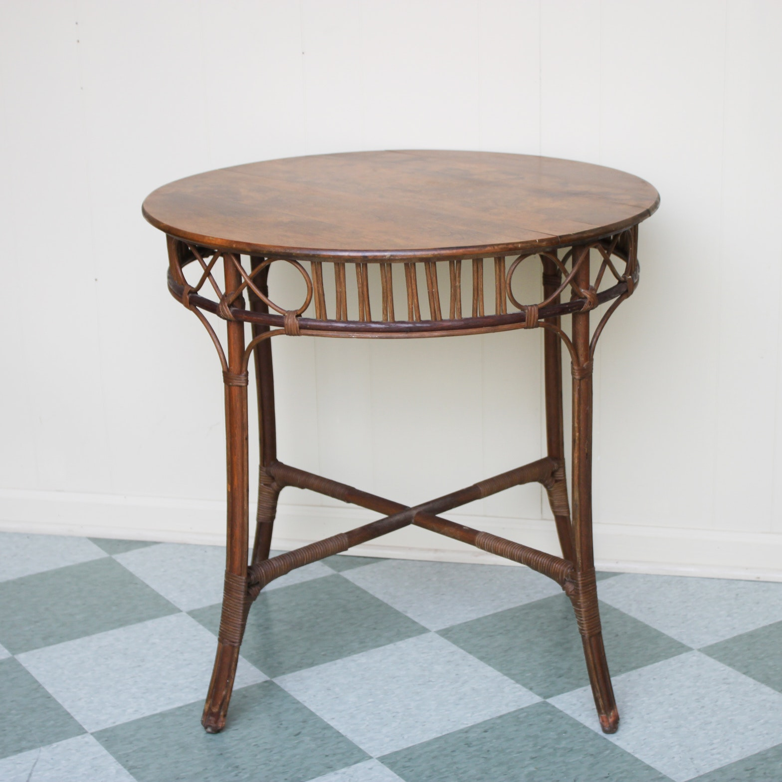 Vintage Rattan Side Table