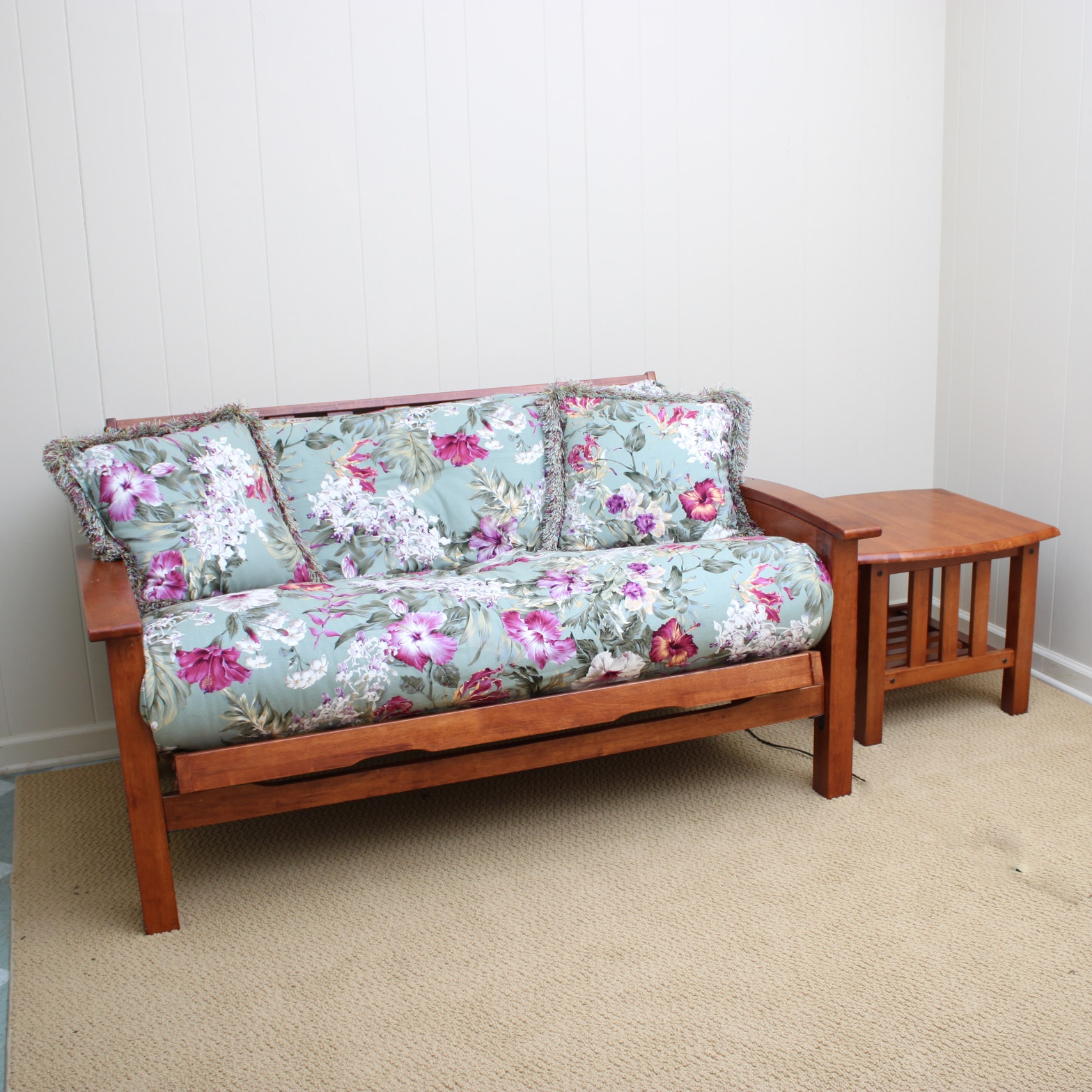 Contemporary Mission Style Futon and Side Table