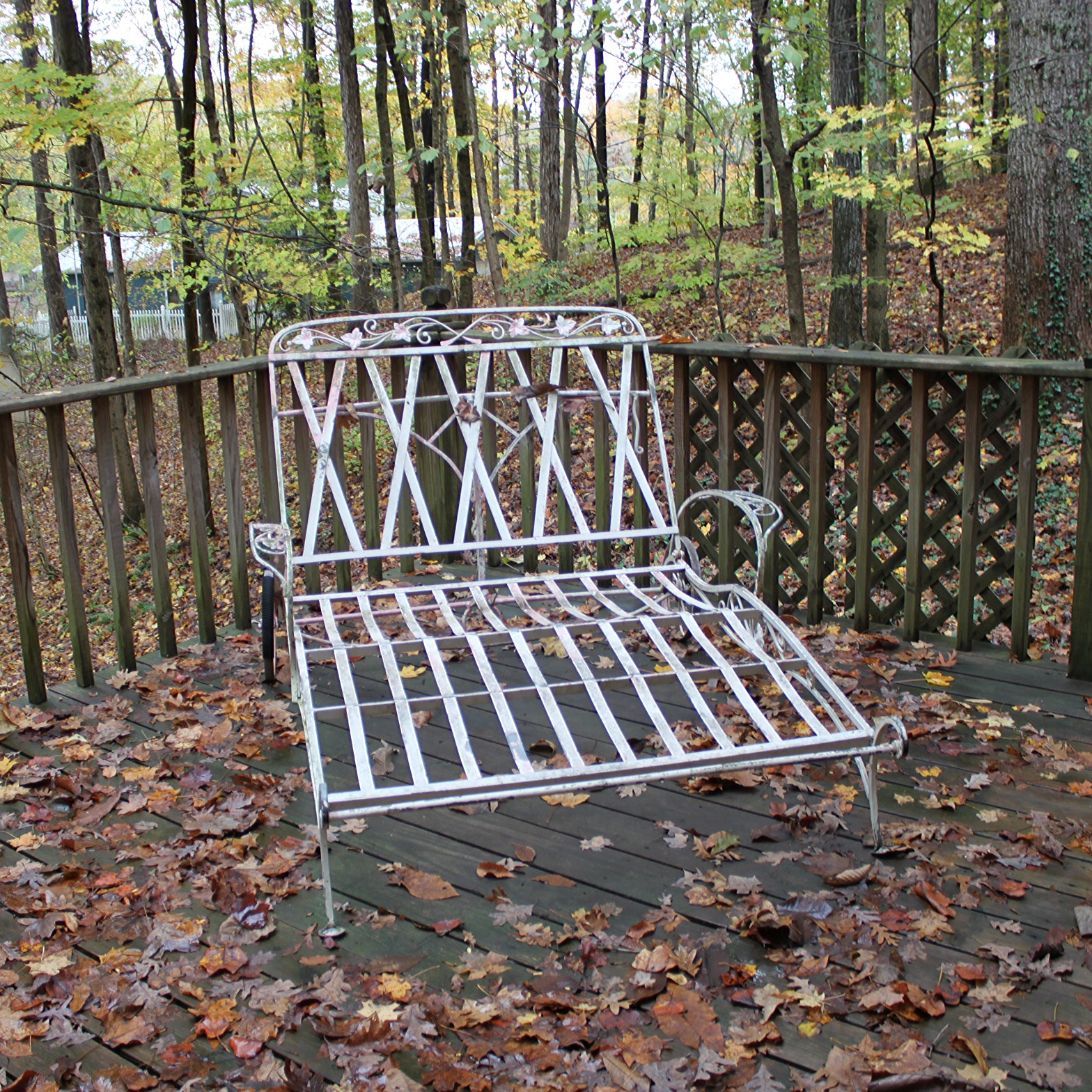 Vintage Metal Patio Double Chaise Lounge Chair