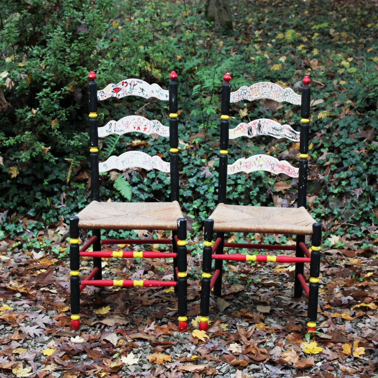 Pair of Painted Ladder Back Chairs With Children's Graffiti