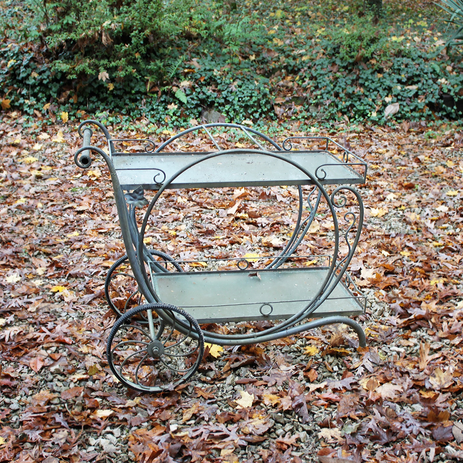 Vintage Salterini Style Metal Patio Bar Cart