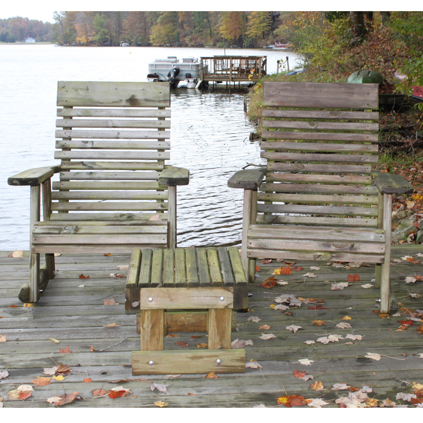 Outdoor Wooden Rocking Chairs and Side Table