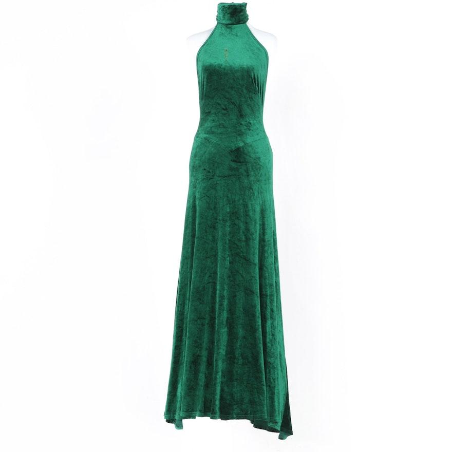 Sleeveless Emerald Green Velvet Evening Gown : EBTH