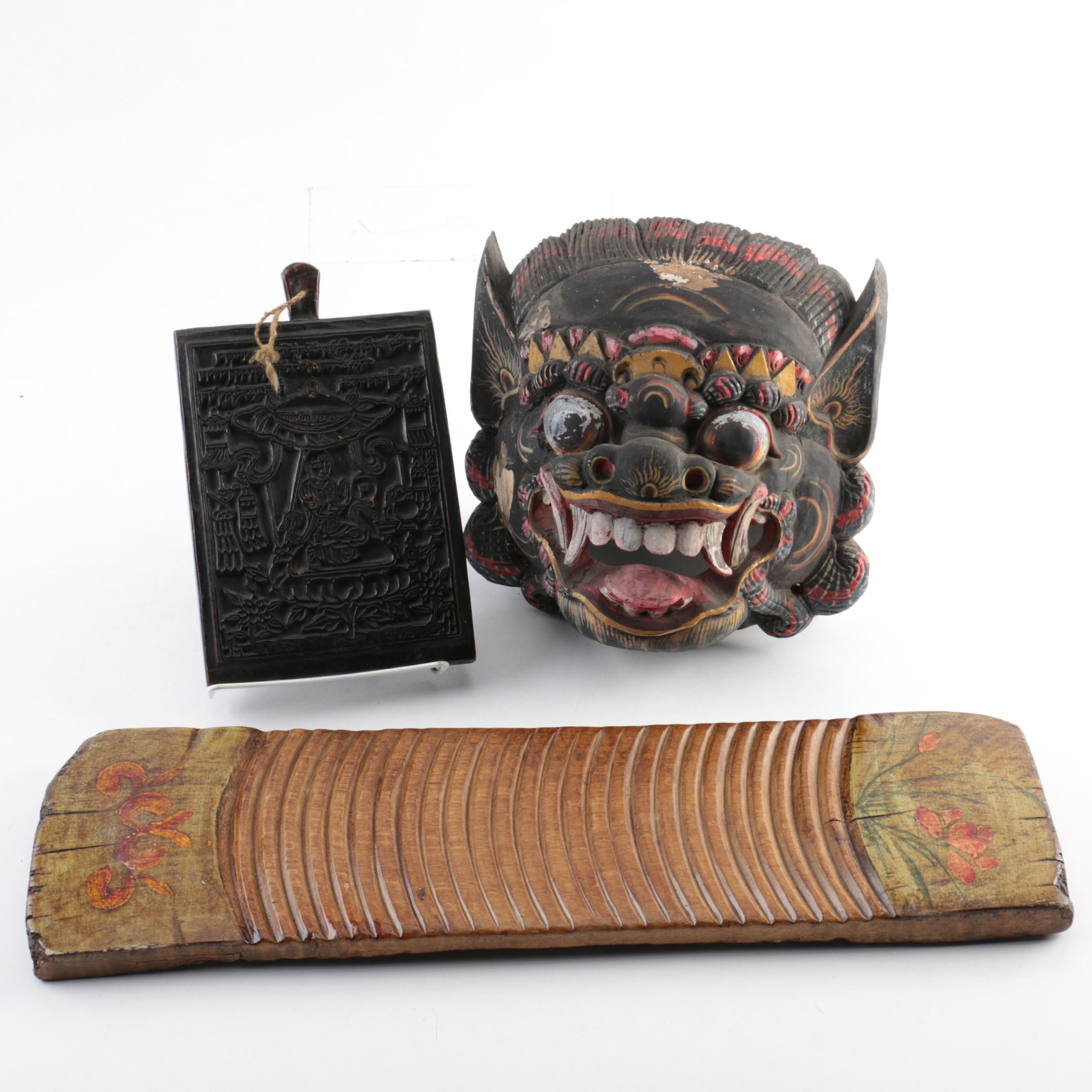 Scandinavian Folk Carved Wood Washboard with Asian Mask and Carving