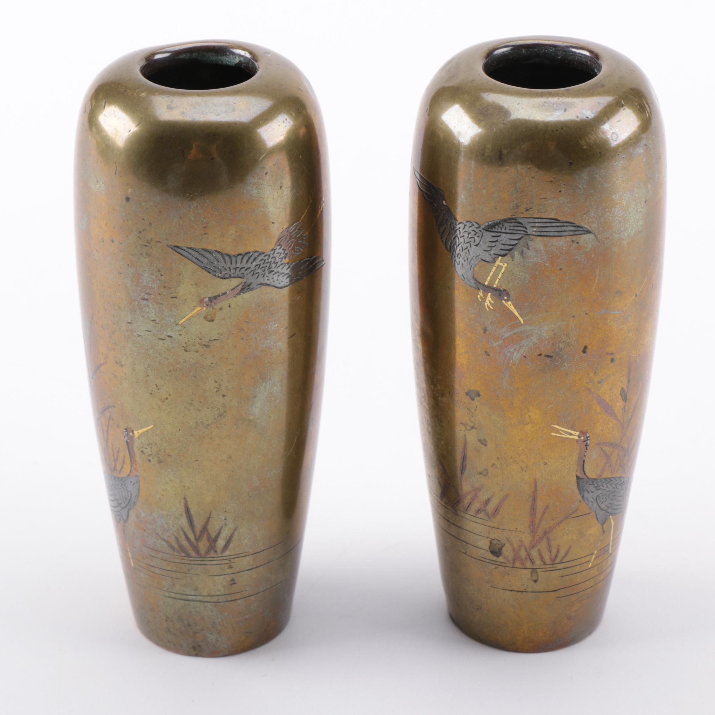 19th Century Japanese Bronze Vases from Nogawa Studio Kyoto