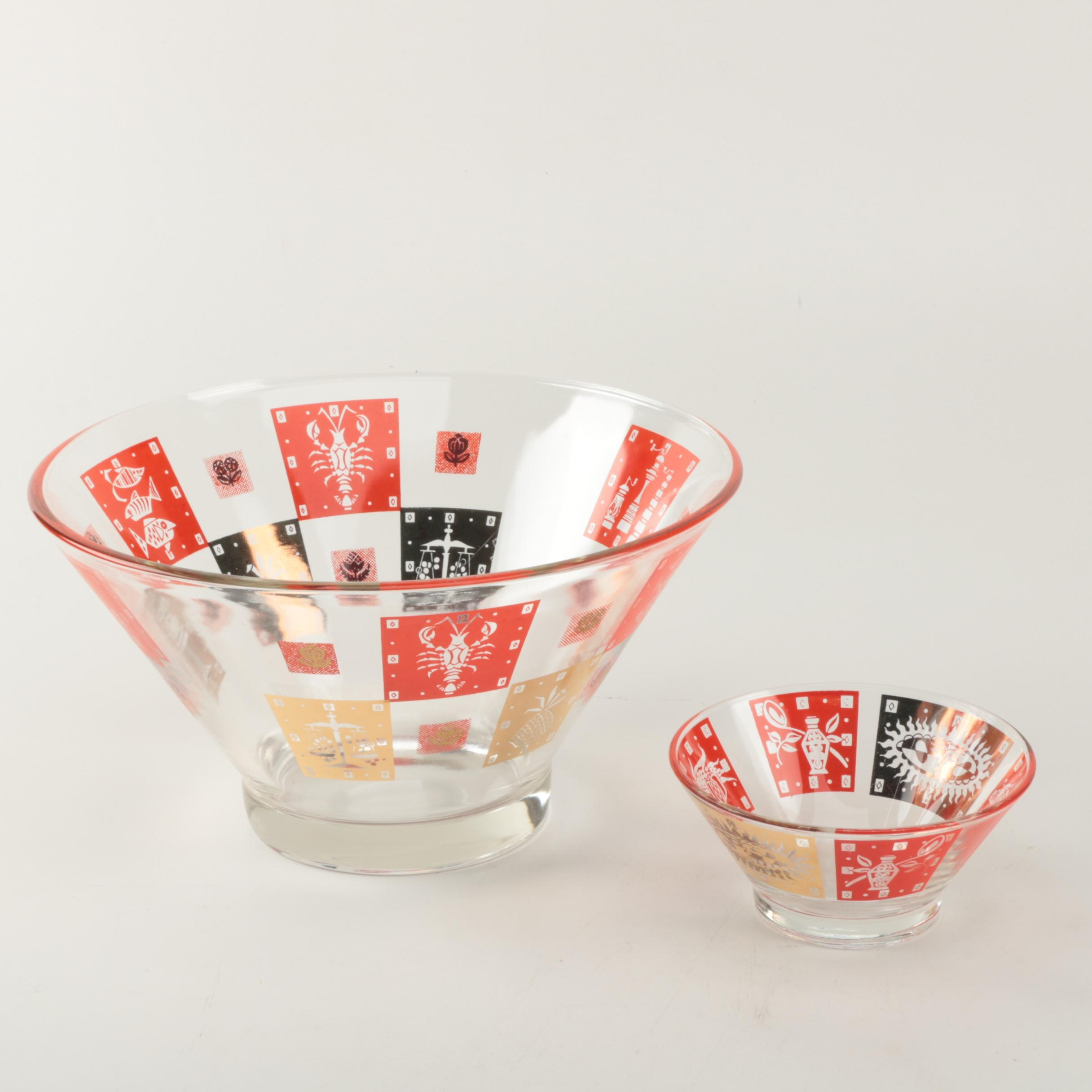 Vintage Mid Century Modern Federal Glass Chip and Dip Bowl Set