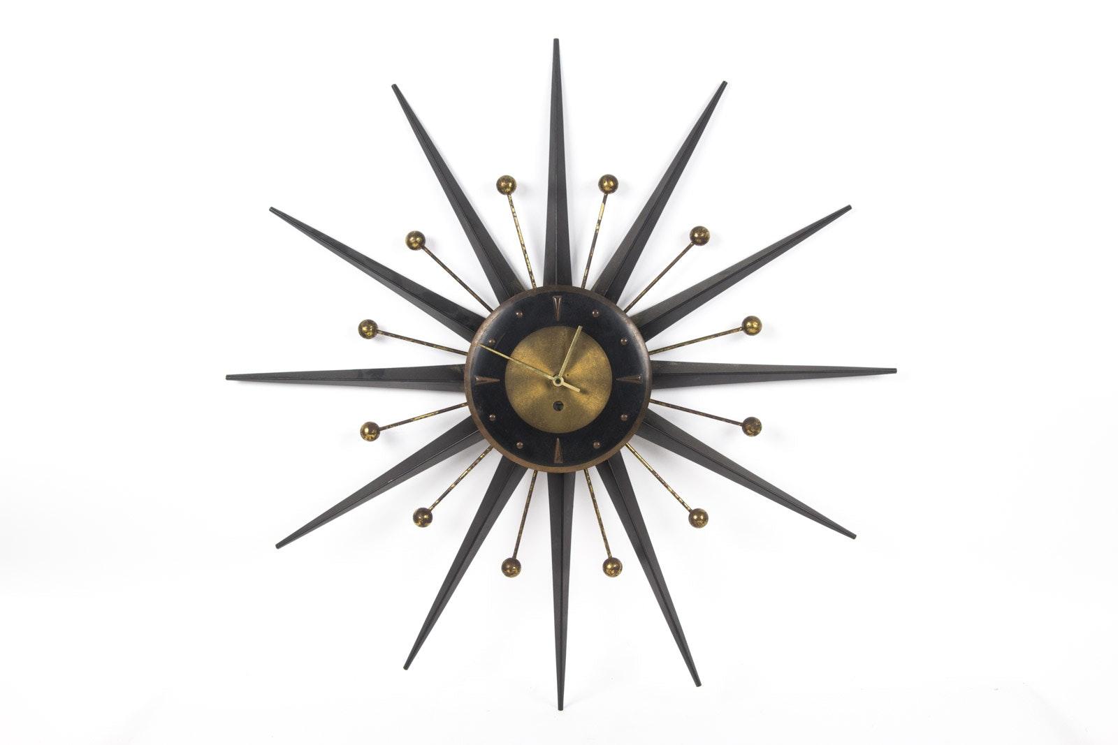 Vintage Mid Century Modern Starburst Clock