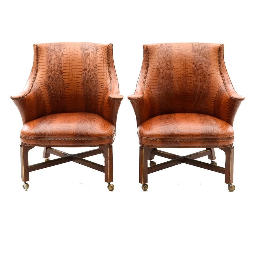 leather consulate game chairs by century furniture ebth